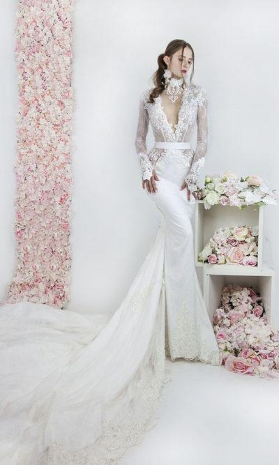 Robe de mariée sirène de luxe à Paris