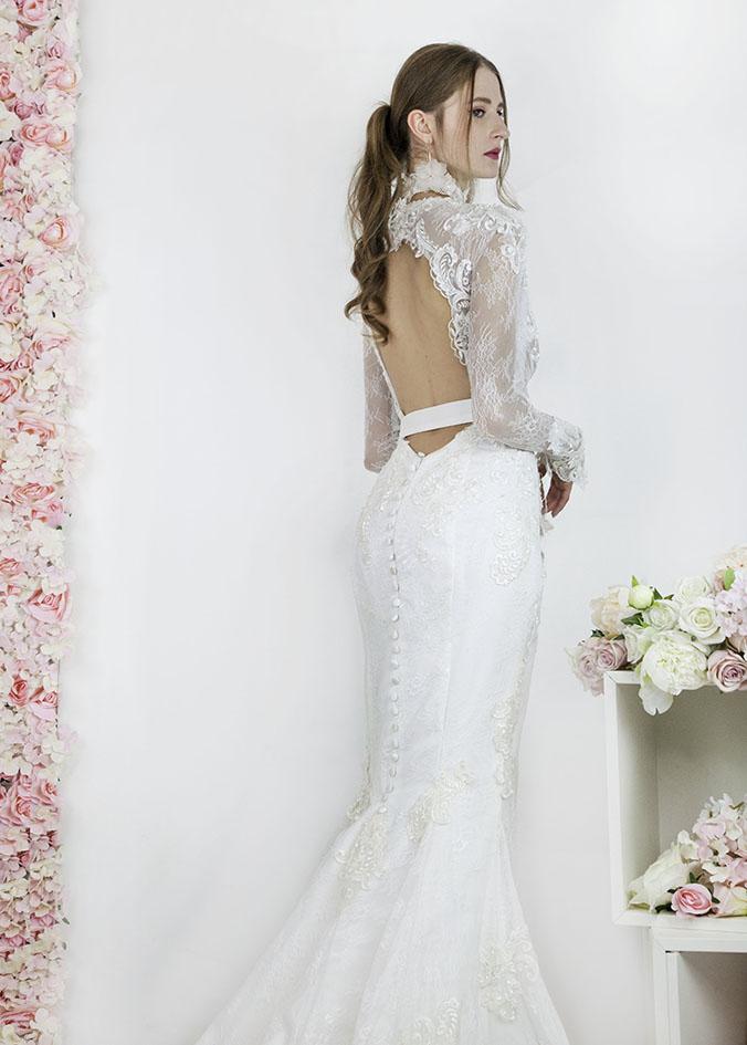Robe de mariage sirène avec dos nu profond