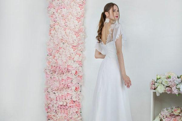 Robe de mariée avec manches en mousseline