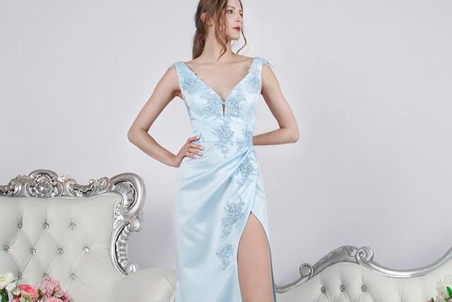 Belle robe de soirée pour mariage demoiselle d'honneur bleu ciel