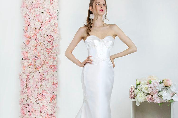 Robe de mariée en mikado coupe sirène