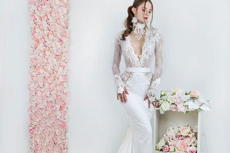 Robe de mariée sirène sexy transparente